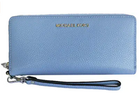 Michael Kors Jet Set Travel Continental Long Wallet Wristlet Powder Blue Pebbled