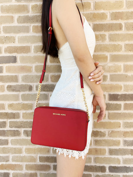 Michael Kors Jet Set Large East West Crossbody Scarlet Red Saffiano - Gaby's Bags