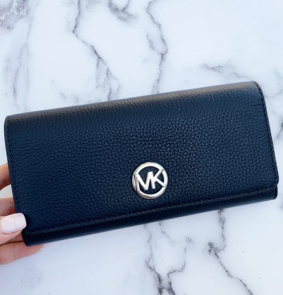 Michael Kors Fulton Large Flap Wallet Navy Pebbled Leather - Gaby's Bags