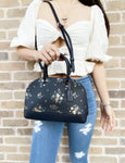 Coach 91430 Mini Sierra Satchel Rose Bouquet Print Midnight Multi Floral - Gaby's Bags