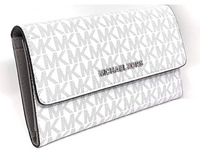Michael Kors Jet Set Large Trifold Wallet Bright White Gray - Gaby's Bags