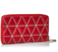 Michael Kors Bright Red Diamond Quilted Leather Flat Smartphone Wristlet Wallet