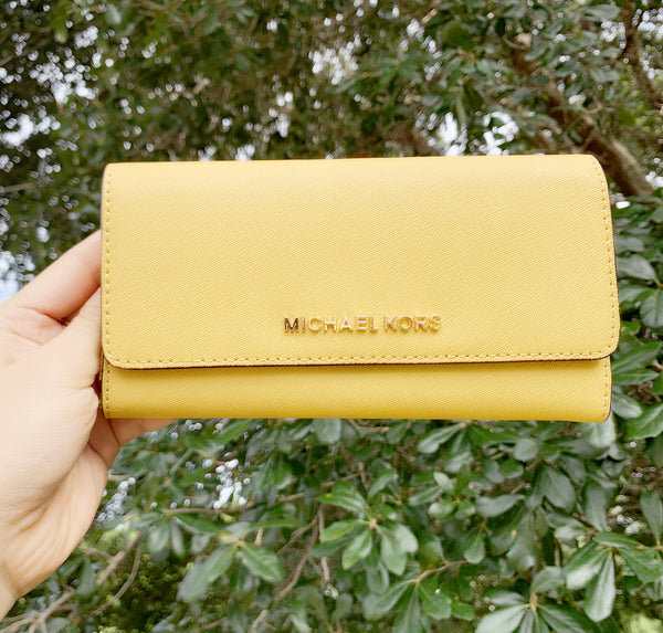 Michael Kors Jet Set Large Trifold Wallet Dusty Daisy Yellow - Gaby's Bags