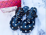 NIB Tory Burch Miller Sandals Patent Leather Navy Classic Dot 7.5
