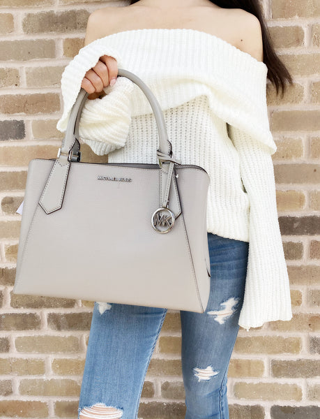 Michael Kors Kimberly Large East West Satchel Pearl Grey - Gaby's Bags