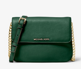Michael Kors Bedford Large Double Compartment Crossbody Moss Green Leather