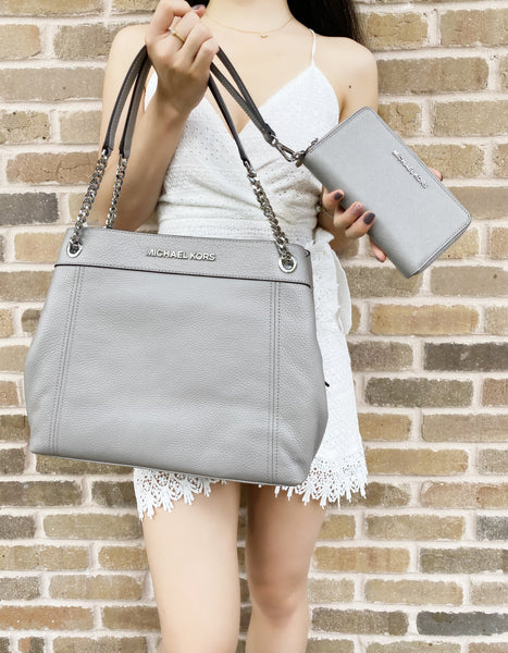 Michael Kors Jet Set Chain Pebble Leather Large Tote Pearl Grey + Phone Wallet
