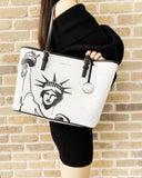 Michael Kors New York City Statue of Liberty Medium Carryall Tote Bag White MK