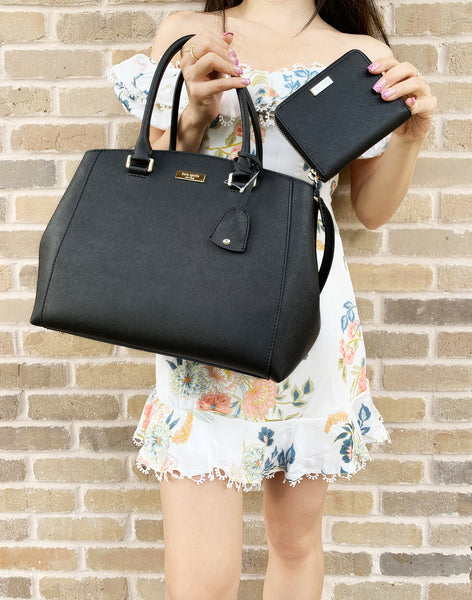 Kate Spade Tilden Place Sloan Large Satchel + Darci Wallet Black - Gaby's Bags