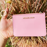 Michael Kors Jet Set Key Ring Top Zip Coin Pouch ID Card Holder Carnation Pink