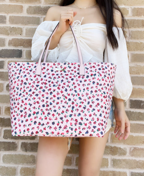 Kate Spade Shore Street Margareta Bold Roses Large Top Zip Tote Bag Pink Purse