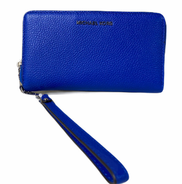 Michael Kors Jet Set Travel Large Flat Multifunction Phone Wallet Grecian Blue - Gaby's Bags