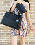 Michael Kors Kimberly Large East West Satchel Black + Trifold Wallet - Gaby's Bags