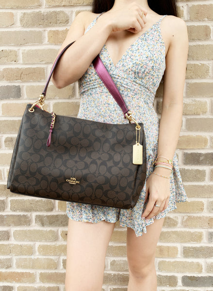 Coach F87703 Signature Mia Large Shoulder Bag Crossbody Brown Metallic Berry - Gaby's Bags