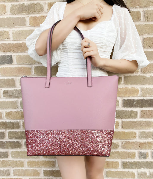 Kate Spade Greta Court Penny Glitter Large Top Zip Tote Pink Glitter
