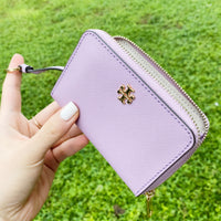Tory Burch Emerson Zip Coin Case Wallet Dusty Violet Purple Key Ring