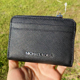 Michael Kors Jet Set Travel Medium Zip Around Card Case Wallet Black Saffiano