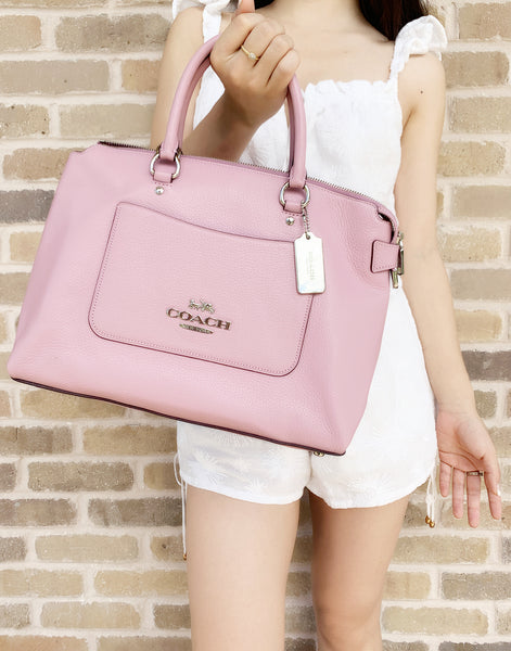 Coach F31467 Emma Tulip Pink Pebbled Leather Satchel Bag - Gaby's Bags