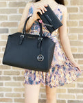 Michael Kors Ciara Large Top Zip Satchel Black Leather + Trifold Wallet