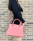 Michael Kors Idina Small Satchel Bag Grapefruit Pink Saffiano Leather