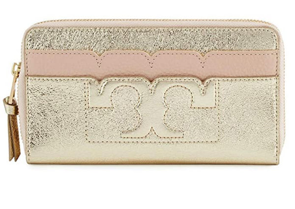Tory Burch Scallop-T Metallic Zip Continental Wallet Dark Pink Quartz Spark Gold - Gaby's Bags