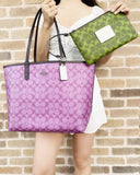 Coach 91380 Reversible City Tote with Pouch Pink Purple ColorBlock Signature - Gaby's Bags