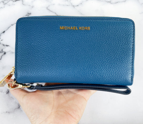 Michael Kors Jet Set Travel Large Flat Multifunction Phone Wallet Daek Chambray