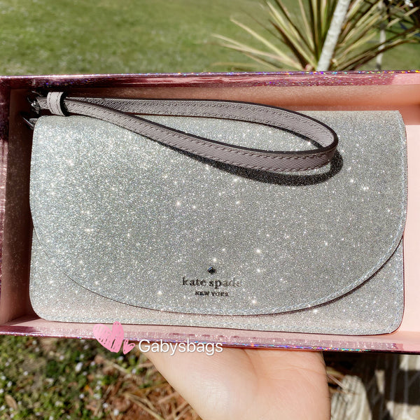 Kate Spade Joeley Multifunctional Wristlet Glitter Silver w GIFT BOX