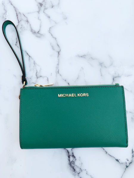 Michael Kors Jet Set Large Double Zip Wristlet Pine Green - Gaby's Bags