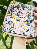 Tory Burch Britten Printed Mini Small Zip Bifold Wallet Flower Field