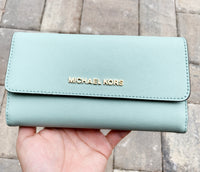 Michael Kors Jet Set Travel Large Trifold Wallet Pale Jade Turquoise - Gaby's Bags
