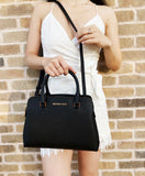 Michael Kors Idina Small Satchel Crossbody Bag Saffiano Leather Black