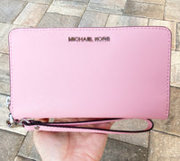 Michael Kors Jet Set Medium Zip Around Phone Holder Wallet Wristlet Carnation Pink - Gaby's Bags