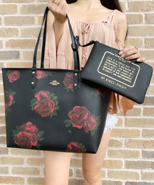 Coach F36658 F37807 Reversible City Tote Black Jumbo Floral + Pouch - Gaby's Bags