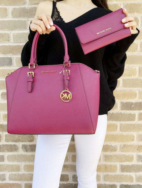 Michael Kors Ciara Large Top Zip Satchel Saffiano Magenta Pink + Trifold Wallet - Gaby's Bags