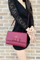 Kate Spade Kirk Park Saffiano Veronique Alek Crossbody Bow Black Cherry Burgundy