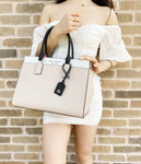 Kate Spade Cameron Large Top Zip Satchel Beige Black Multi Crossbody