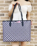 Kate Spade Hollie Spade Top Zip Shoulder Tote Clover Geo Purple Navy Multi