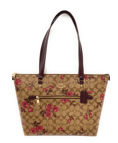 Coach Gallery Tote Shoulder Bag Khaki Signature Berry Floral - Gaby's Bags
