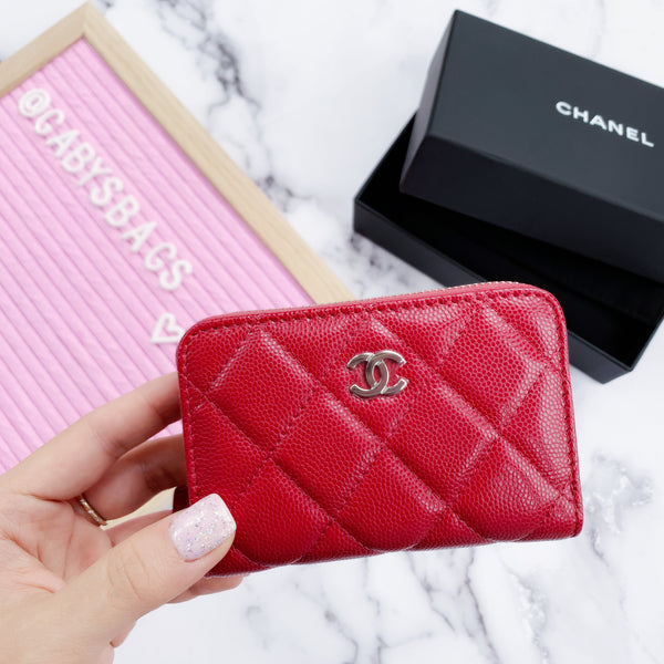 CHANEL Caviar O Coin Card Holder Zip Wallet 18B Dark Pink Red