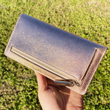 Kate Spade Cameron Staci Large Slim Bifold Wallet Rose Gold Saffiano Leather