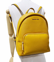 Michael Kors Erin Medium Abbey Backpack Marigold Yellow Pebbled Leather