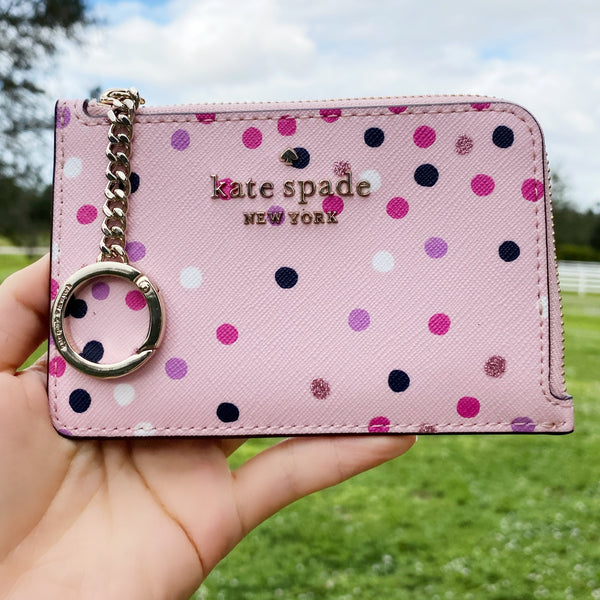 Kate Spade Staci Medium L-Zip Card Holder Festive Confetti Glitter Dots Pink