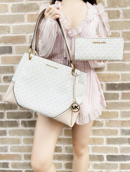 Michael Kors Nicole Large Shoulder Tote Vanilla Signature MK Ballet Pink + Bifold Wallet - Gaby's Bags