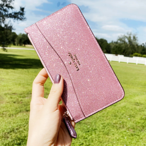 Kate Spade Lola Large Slim Card Holder Wallet Organizer Glitter Rose Pink