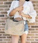 COACH Zip Shoulder Bag Canvas Leather Classic Purse Light Khaki Chalk F29209