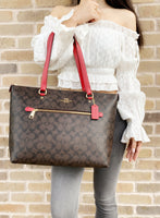 Coach F79609 Gallery City Zip Tote Signature Canvas Brown True Red - Gaby's Bags