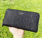 Kate Spade Lola Joeley Glitter Small Top Zip Satchel Black + Neda Zip Wallet