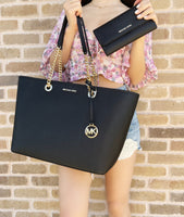 Michael Kors Shania Large Chain Tote Shoulder Bag Black + Trifold Wallet