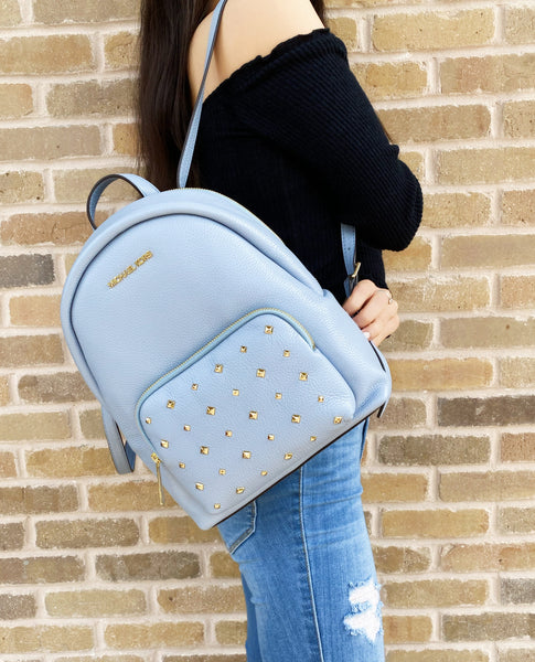 Michael Kors Erin Medium Backpack Pale Blue Leather Messenger Studded Handbag